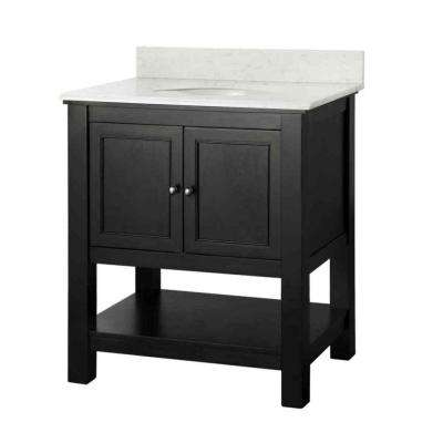 Gazette 31 in. W x 22 in. D Vanity in Espresso with Marble Vanity Top in Carrara