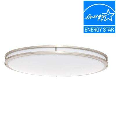 32 in. Brushed Nickel/White Low Profile LED Ceiling Flushmount