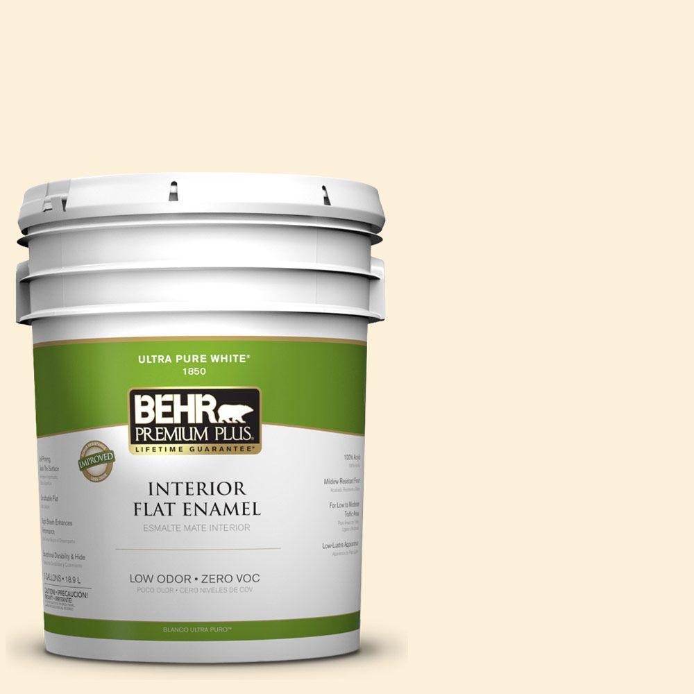 BEHR Premium Plus 5-gal. #310A-1 Ivory Invitation Zero VOC Flat Enamel Interior Paint-DISCONTINUED