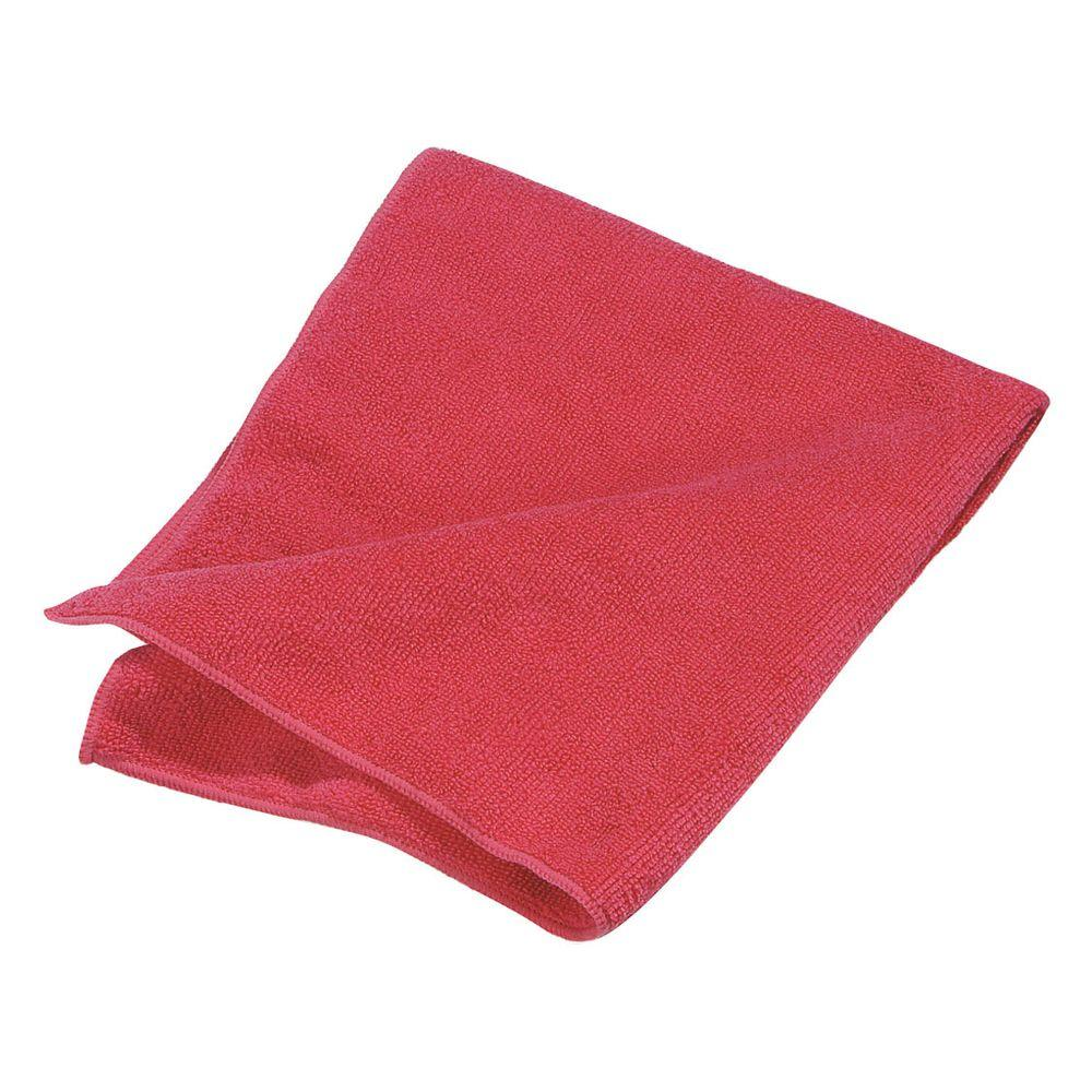 16 in. x 16 in. Microfiber Terry Cleaning Cloth in Red