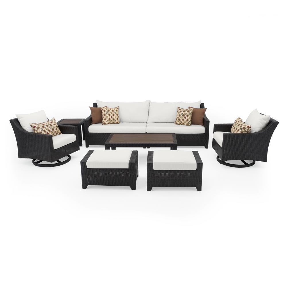 Deco 8-Piece Motion Wicker Patio Deep Seating Conversation Set with Sunbrella Moroccan Cream Cushions