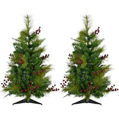3 ft. Newberry Pine Artificial Trees with Battery-Operated Multi-Colored LED String Lights (Set of 2)