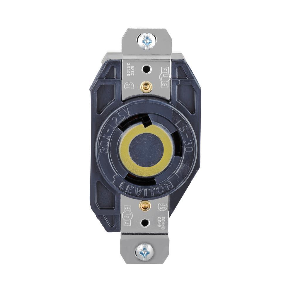 30 Amp 125-Volt 3-Wire Locking Single Outlet, Black