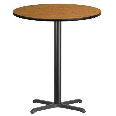 36 in. Round Black and Natural Laminate Table Top with 30 in. x 30 in. Bar Height Table Base