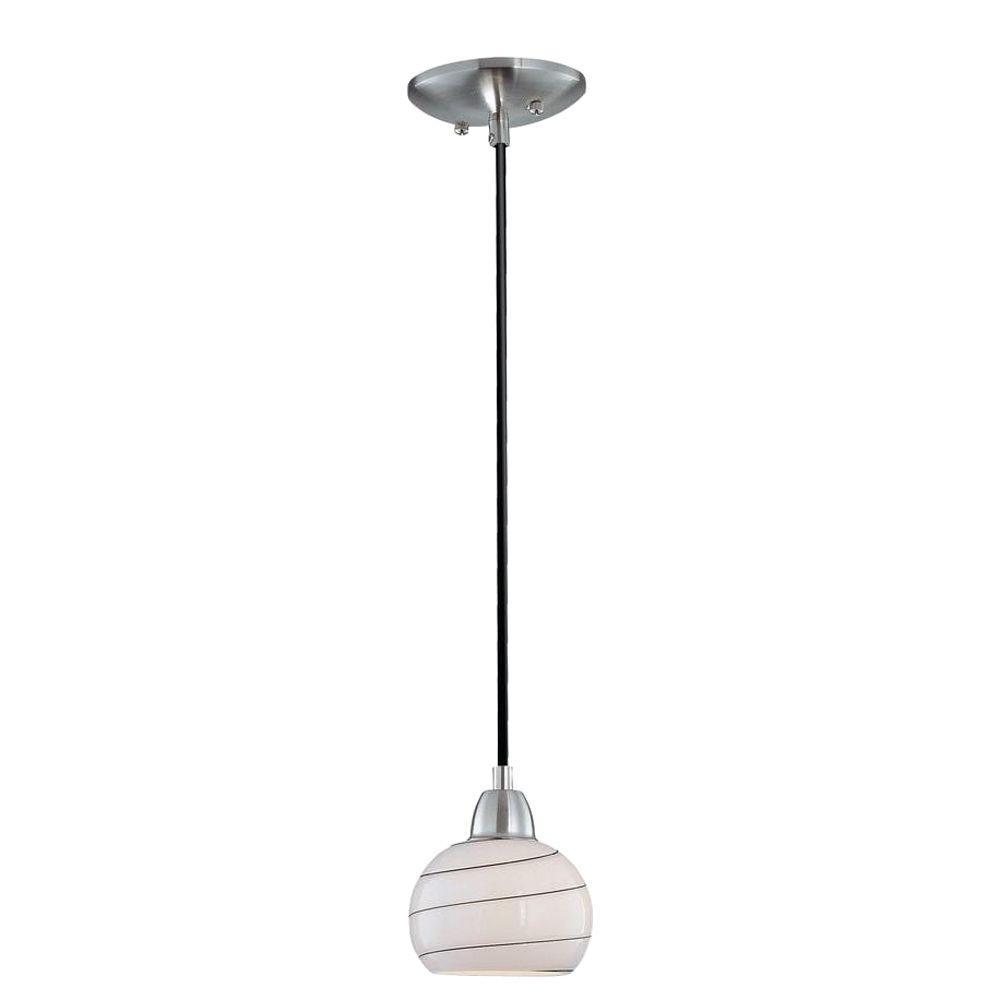 1-Light White Pendant with White Glass