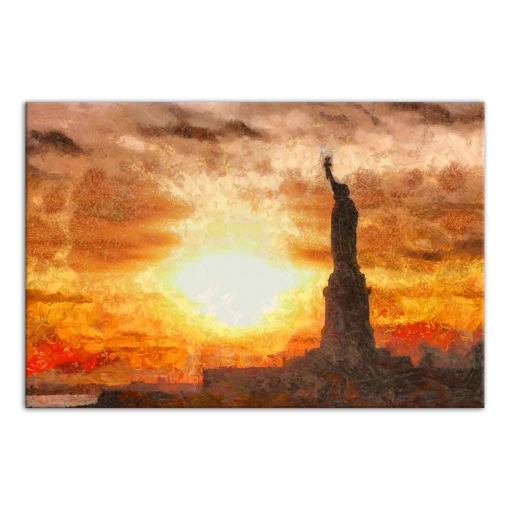 DESIGNS DIRECT 16 in. x 24 in. \'\'Statue of Liberty Sunset\'\' Printed ...