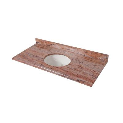 49 in. x 22 in. Stone Effects Vanity Top in Bordeaux with White Sink