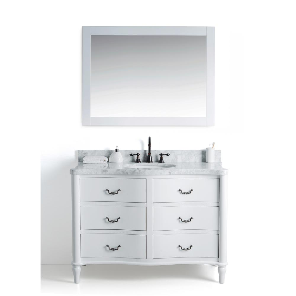 Legion Furniture 48 in. W x 22 in. D Vanity in White with Cararra Marble Vanity Top in White and Gray with White Basin and Mirror