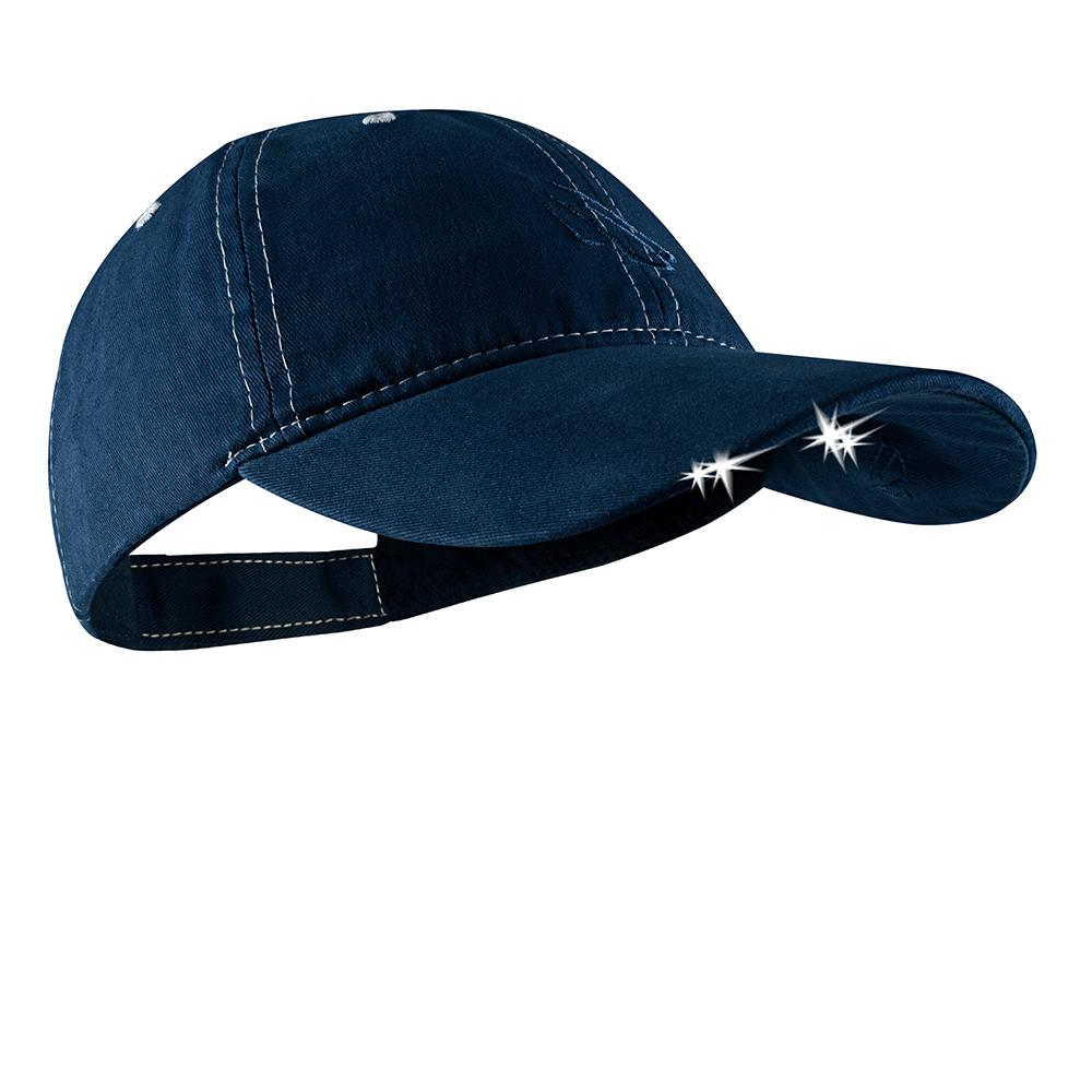 df92aabf01f POWERCAP LED Hat 25 10 Ultra-Bright Hands Free Lighted Battery Powered  Headlamp Navy White Unstructured Cotton