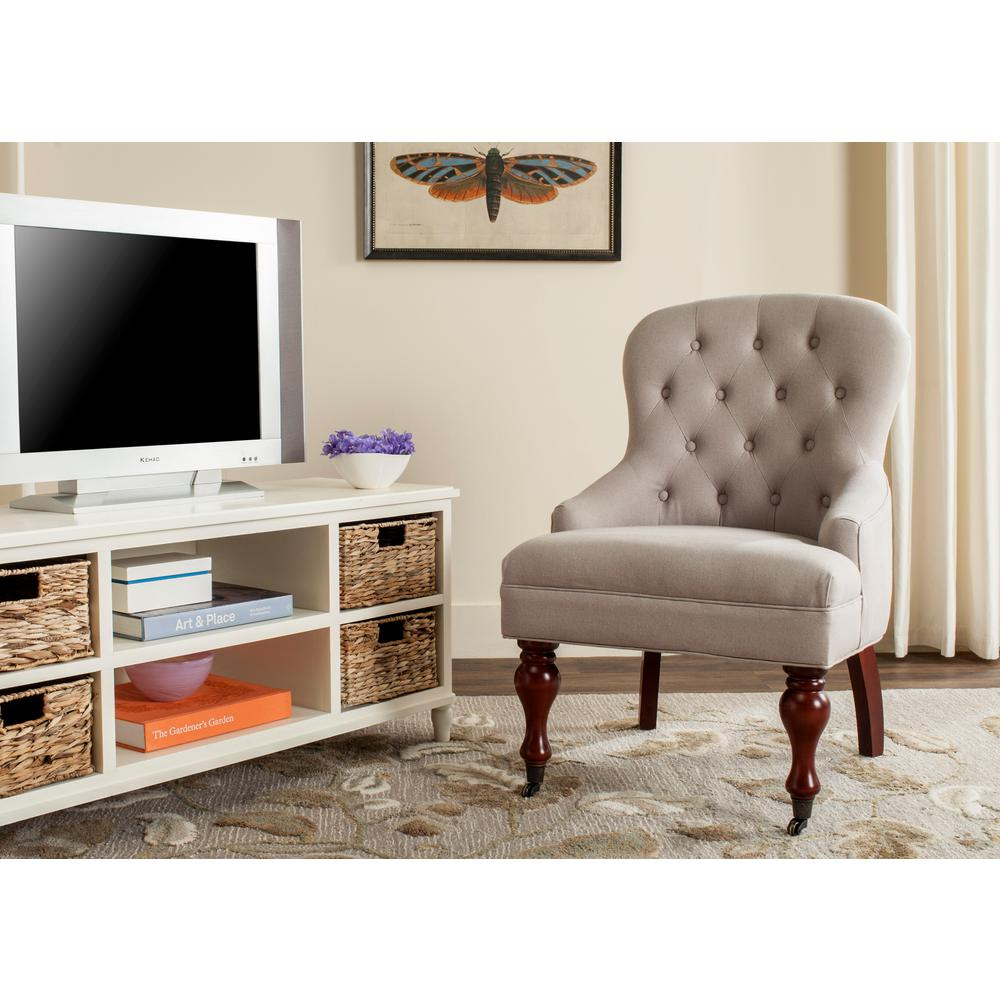SAFAVIEH Safavieh Falcon Taupe/Cherry Mahogany Linen Arm Chair