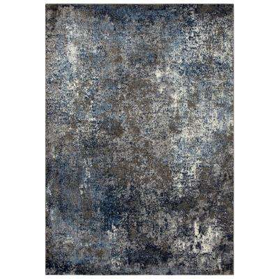 Venice Silver/Blue 6 ft. 7 in. x 9 ft. 6 in. Abstract Area Rug