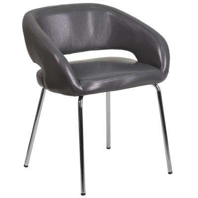Fusion Series Contemporary Gray Leather Side-Reception-Lounge Chair