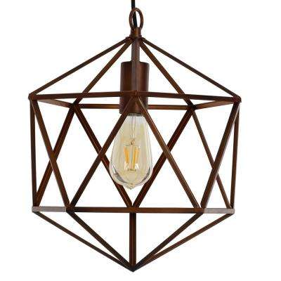 1-Light Brown with Highlights Geo Swag Pendant