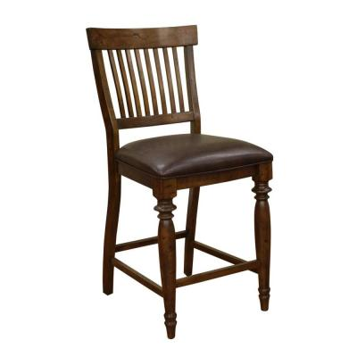 Delphina 25 in. Antique Birch Cushioned Bar Stool (Set of 2)
