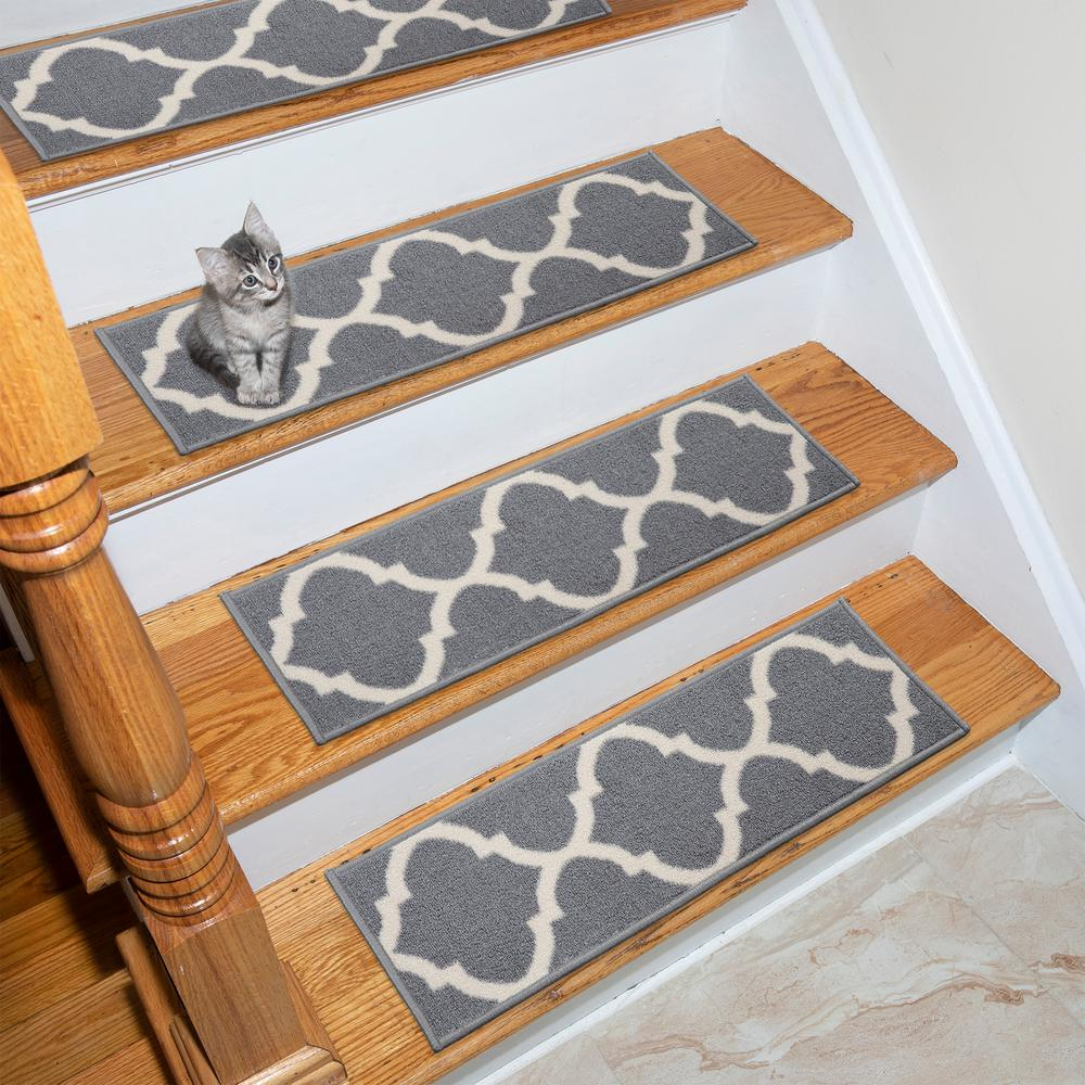Ottohome Collection Gray 9 in. x 26 in. Polypropylene Stair Tread