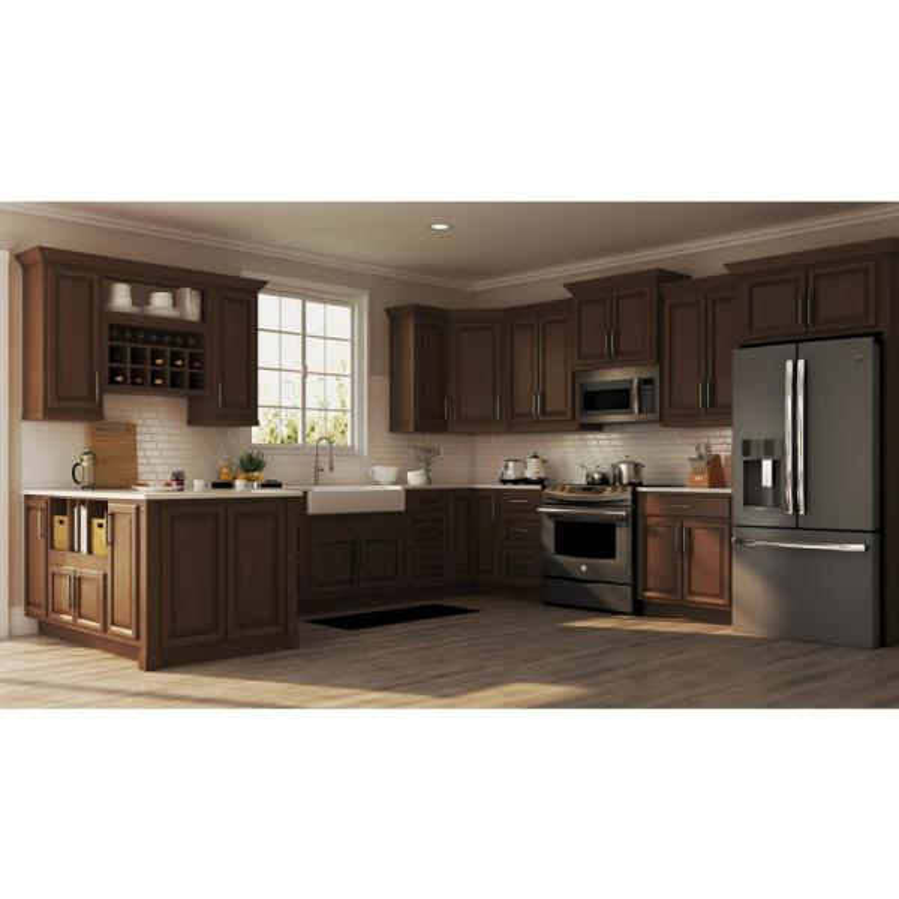 Hampton Bay Hampton Assembled 18x84x24 In Pantry Kitchen Cabinet In Cognac Kp1884 Cog The Home Depot
