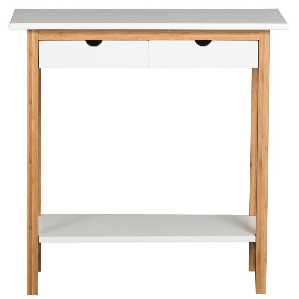 White 2 Drawer Console Table
