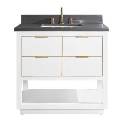 Allie 37 in. W x 22 in. D Bath Vanity in White with Gold Trim with Quartz Vanity Top in Gray with White Basin