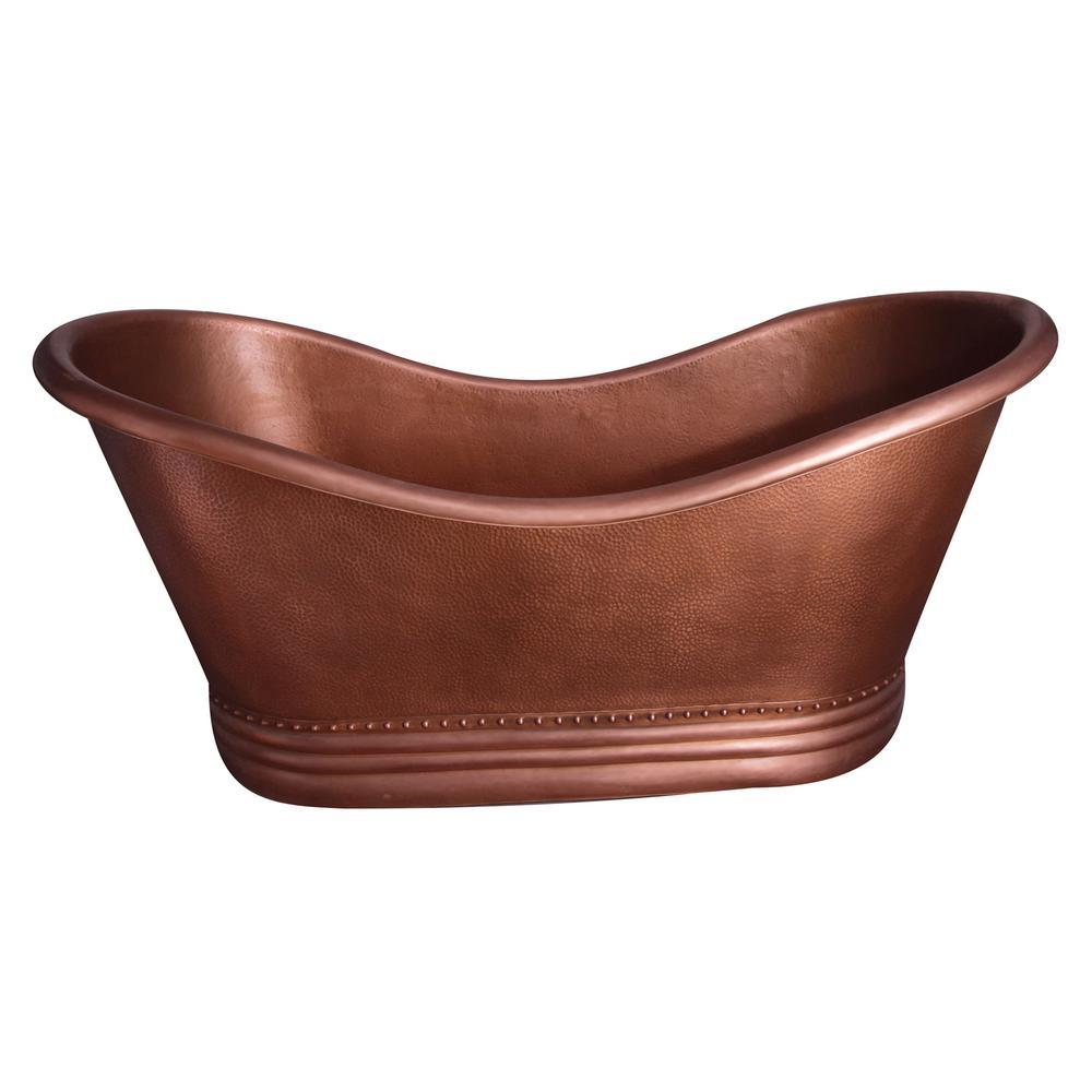 Allegro 66 in. Copper Double Slipper Flatbottom Non-Whirlpool Bathtub