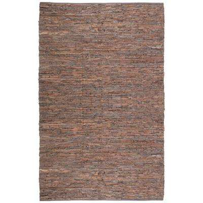 Brown Leather 3 ft. x 4 ft. Area Rug