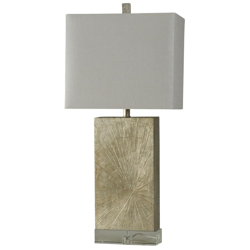 Stylecraft 34 In Silver Wood Table Lamp With White Hardback Fabric Shade