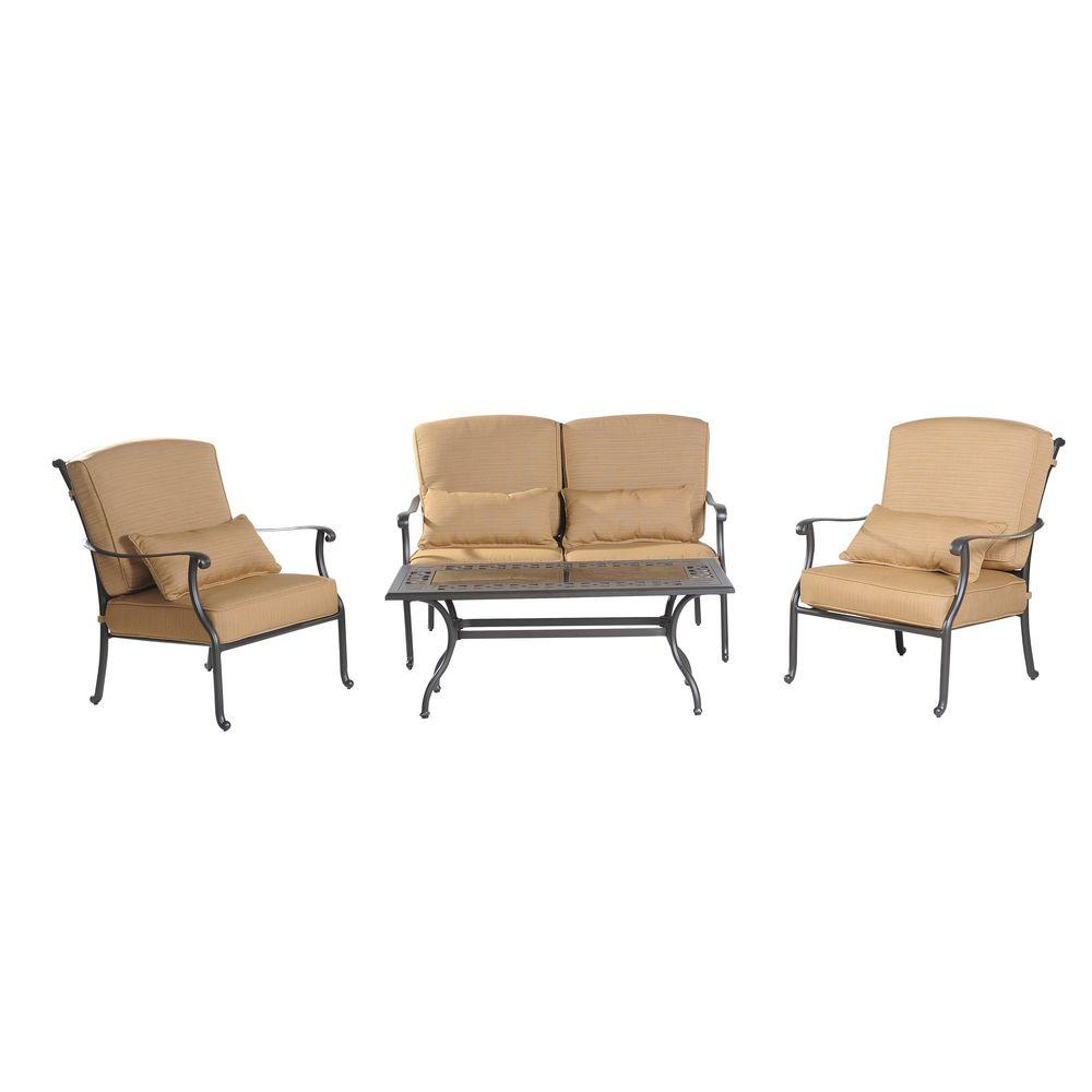 Sunjoy Montreal 4 Piece Patio Conversation Set With Wheat Cushion