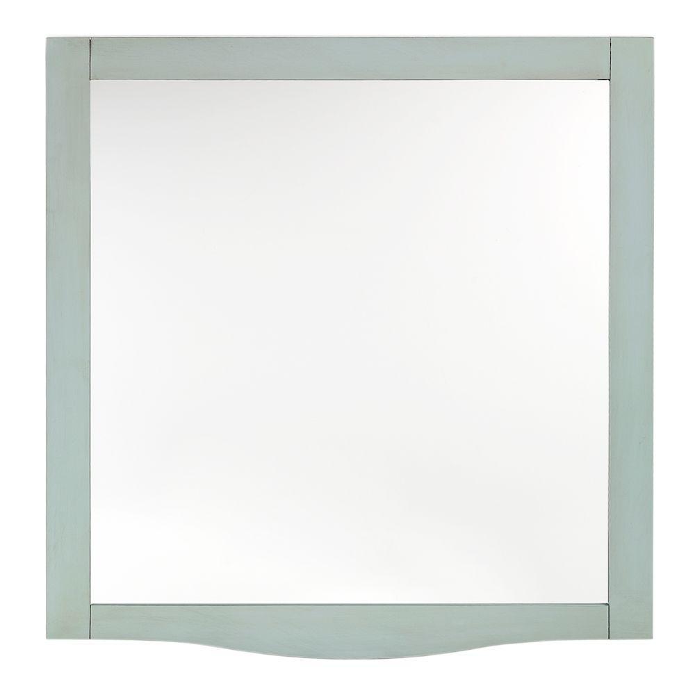 Savoy 32 in. L x 30 in. W Beveled Mirror in Antique Aquamar Frame