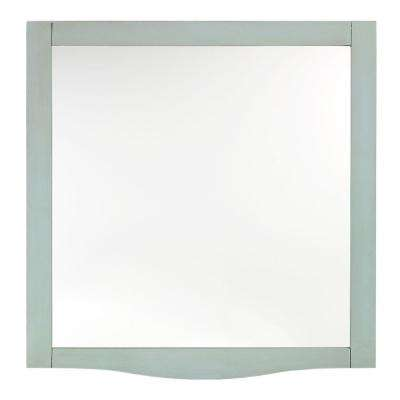 Savoy 32 in. L x 30 in. W Beveled Mirror in Antique Aquamar Frame