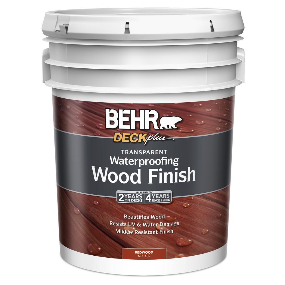BEHR DECKplus 5 gal. Redwood Transparent Waterproofing Wood Finish