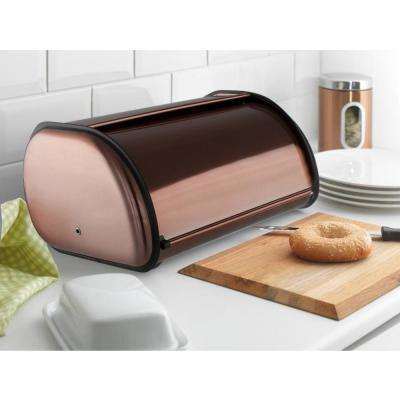 Copper Stainless Steel Roll-Top Bread Box