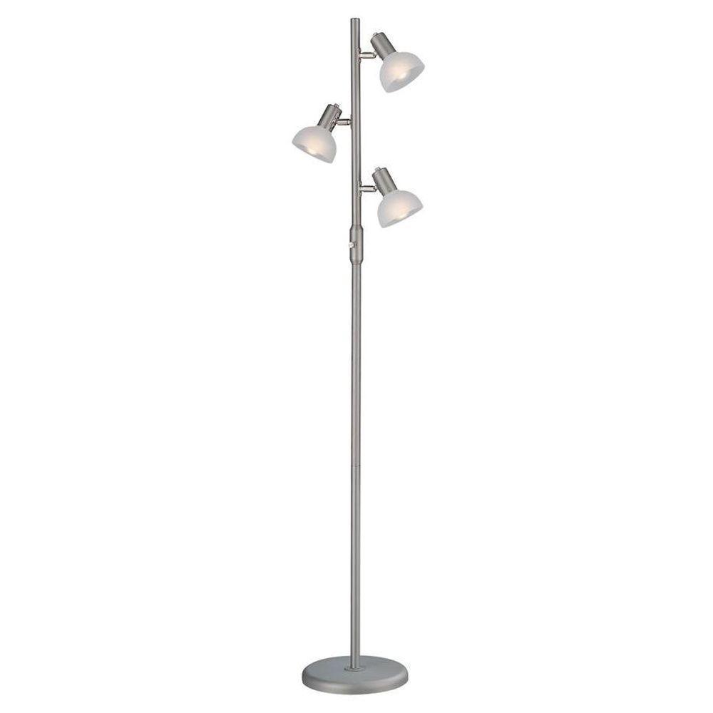 Illumine 63 in. Satin Steel Floor Lamp with Frost Glass Shade