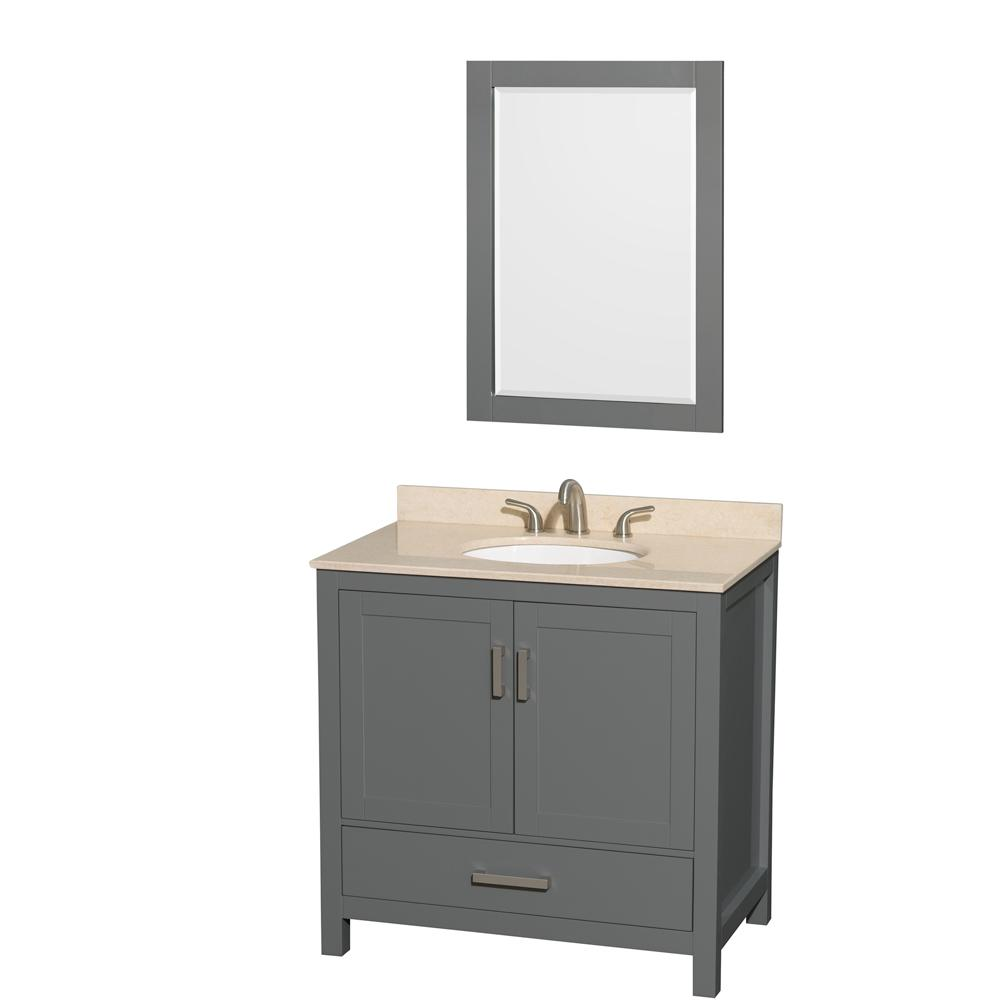 Sheffield 36 in. W x 22 in. D Vanity in Dark Gray with Marble Vanity Top in Ivory with White Basin and Mirror