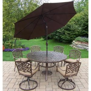 9-Piece Aluminum Outdoor Dining Set with Sunbrella Beige Cushions and Brown Umbrella by