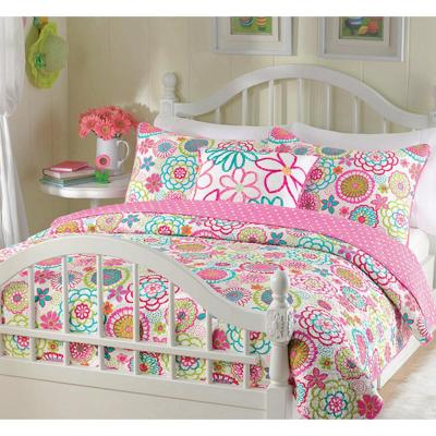 Flower Power Floral Bloom 3-Piece Multi-Color Pink Blue Green Orange Poly Cotton Twin Quilt Bedding Set & Throw Pillow