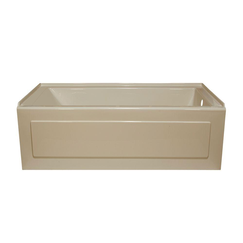 Lyons Industries Linear 5 ft. Whirlpool Tub with Right Drain in Almond