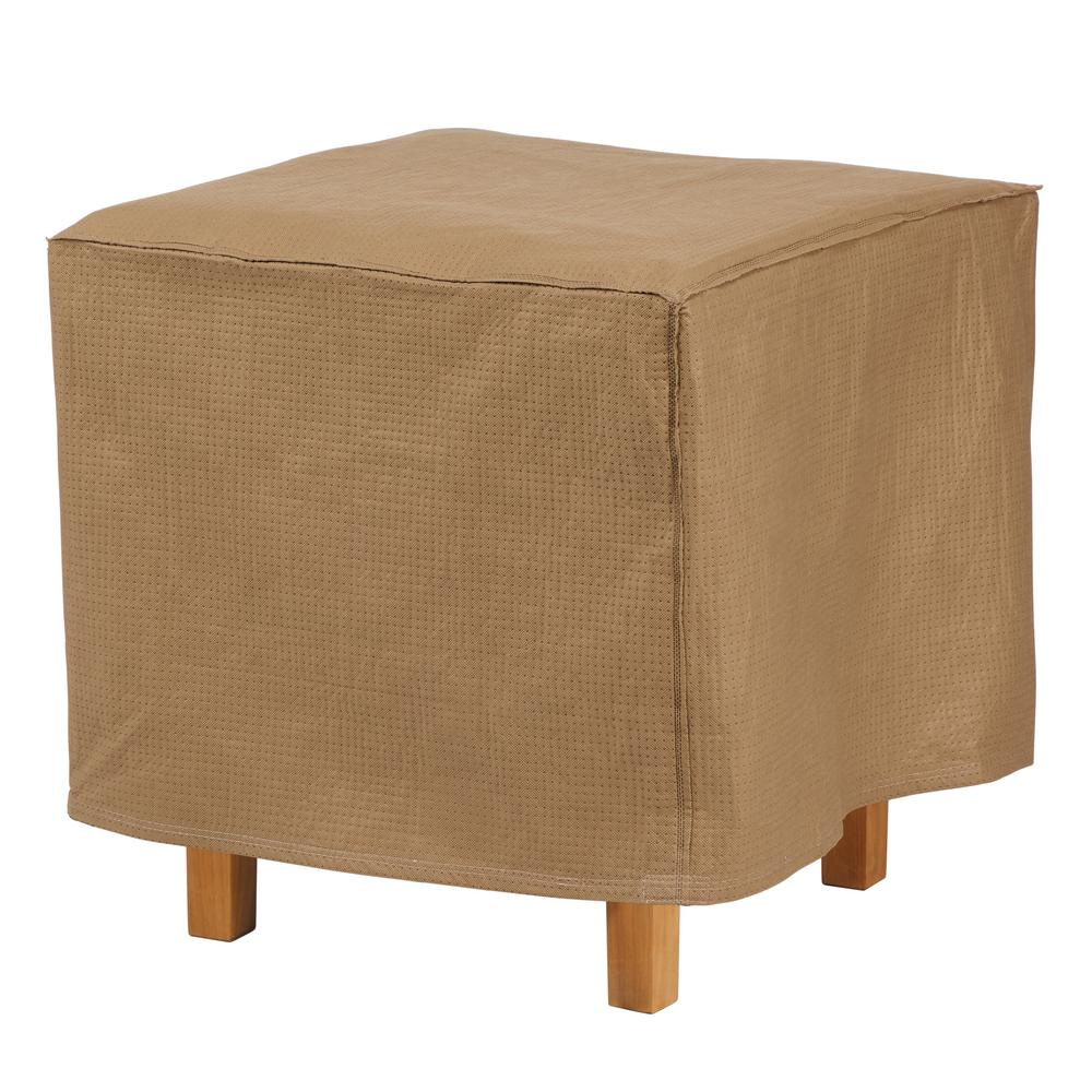 Duck Covers Essential 22 in. L x 22 in. W x 18 in. H Latte Square Ottoman/Side Table Cover