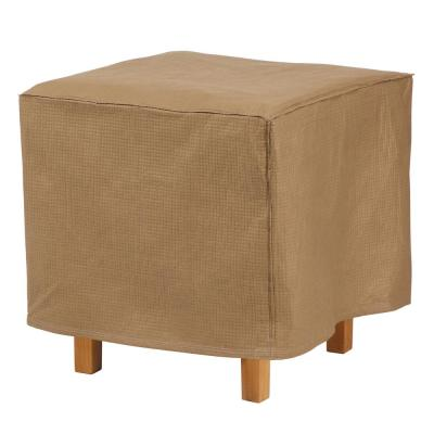 Essential 22 in. L x 22 in. W x 18 in. H Latte Square Ottoman/Side Table Cover