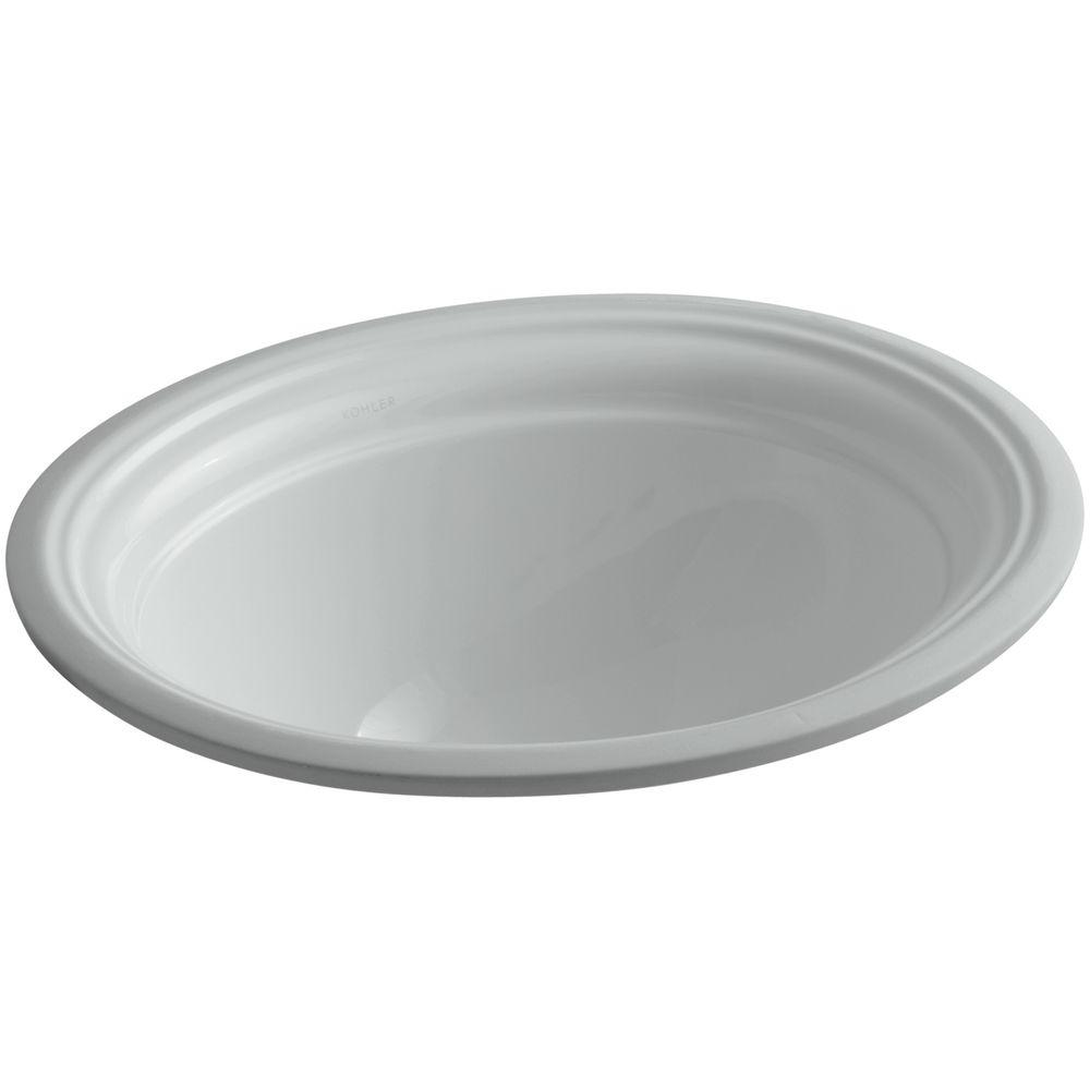Kohler Devonshire Vitreous China Undermount Bathroom Sink With Overflow Drain In Ice Gray With Overflow Drain K 2350 95 The Home Depot