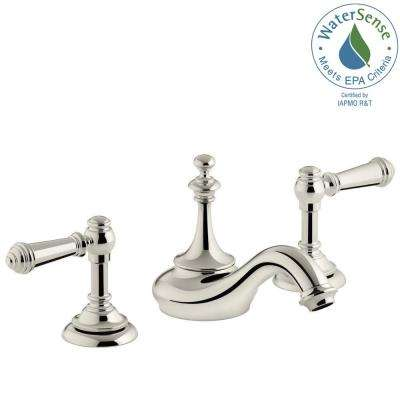 Artifacts 8 in. Widespread 2-Handle Tea Design Bathroom Faucet in Vibrant Polished Nickel with Lever Handles