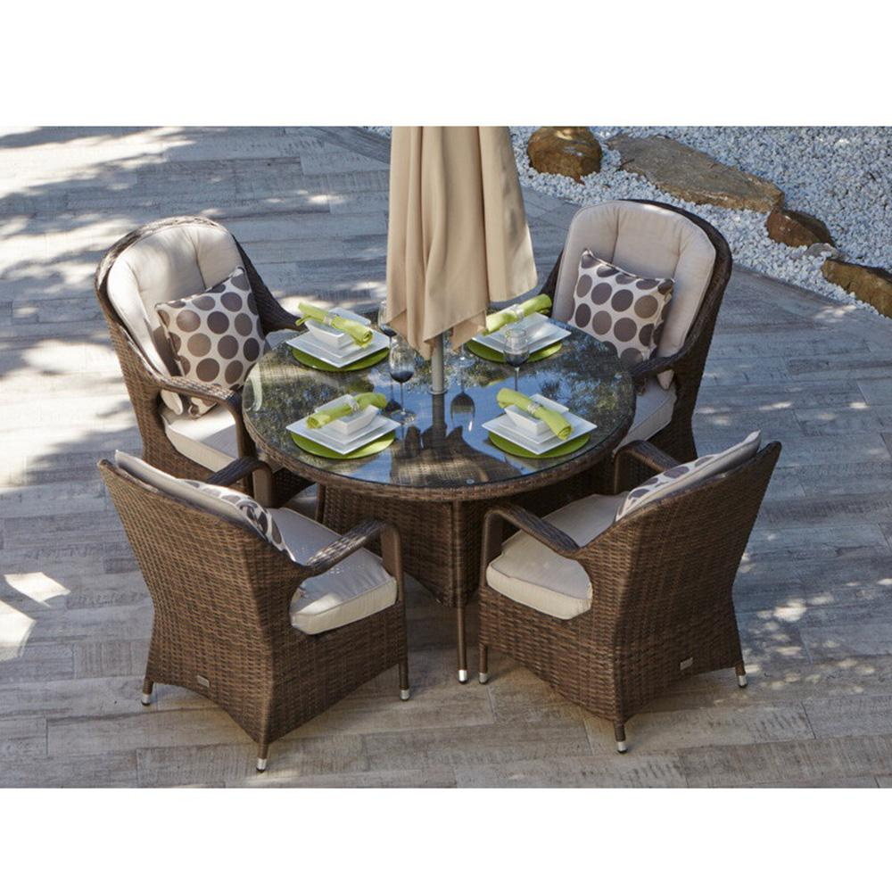 Direct Wicker Bavaro 5 Piece Wicker Round Outdoor Dining Set With Beige Cushions Pad 1709 The Home Depot