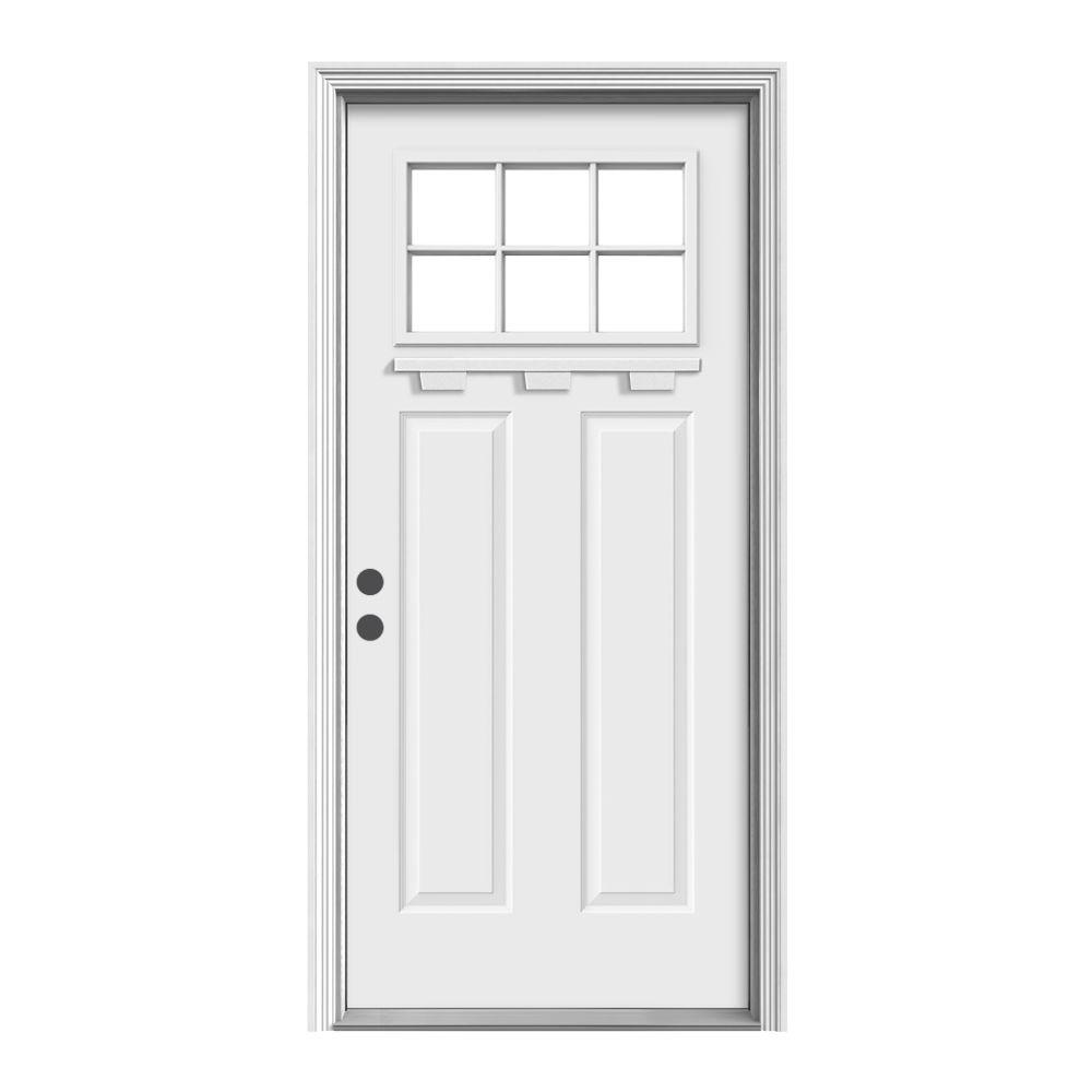 Jeld wen 36 in x 80 in 6 lite craftsman primed steel for Jeld wen front entry doors