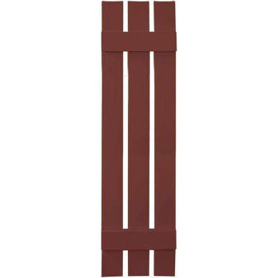 12 in. x 51 in. Board-N-Batten Shutters Pair, 3 Boards Spaced #027 Burgundy Red