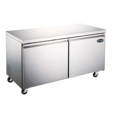 60.25 in. W 15 cu. ft. Commercial Under Counter Refrigerator Cooler in Stainless Steel