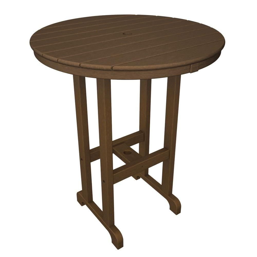 La Casa Cafe Teak 36 in. Round Plastic Outdoor Patio Bar