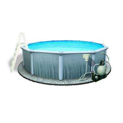 Martinique 27 ft. Round 52 in. Deep 7 in. Top Rail Metal Wall Swimming Pool Package
