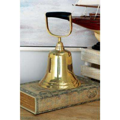10 in. x 6 in. Brass Hand Bell in Golden Brass