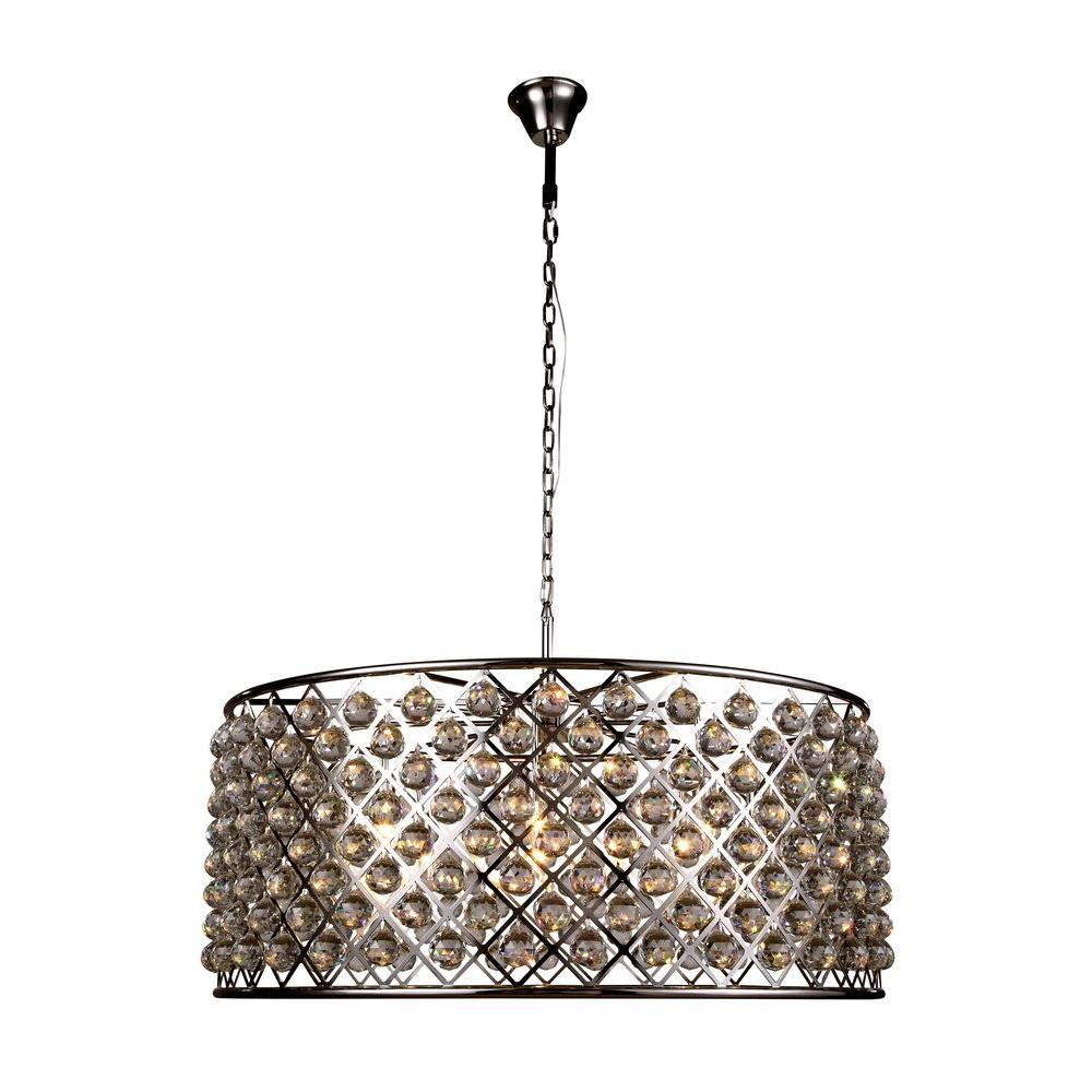 Madison 10-Light Polished Nickel Royal Cut Crystal Clear Pendant