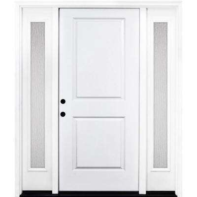 64 in. x 80 in. Classic 2-Panel RHIS Primed White Steel Prehung Front Door with Double 12 in. Rain Glass Sidelites