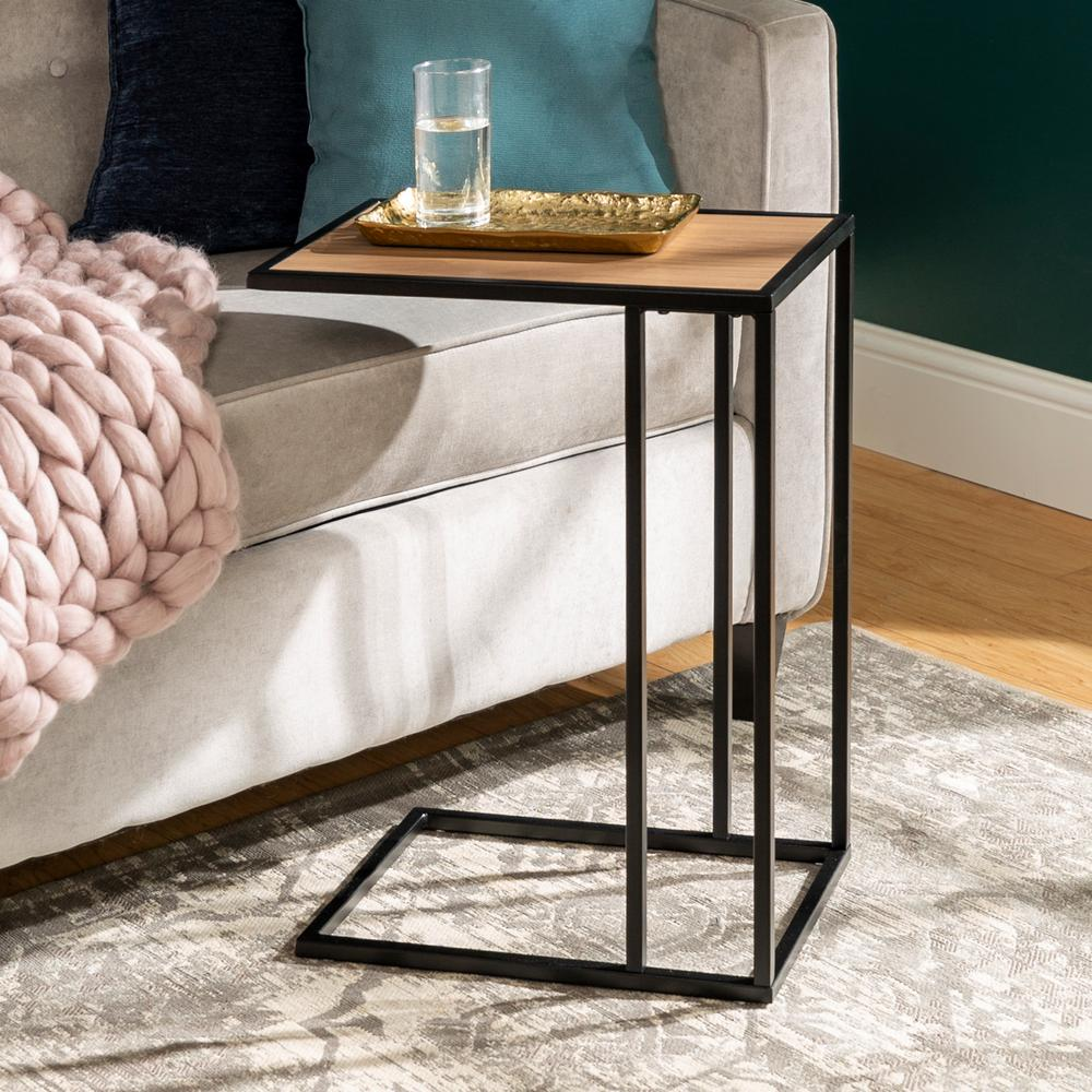 20 in mocha urban industrial modern contemporary transitional asymmetrical side accent table nightstand