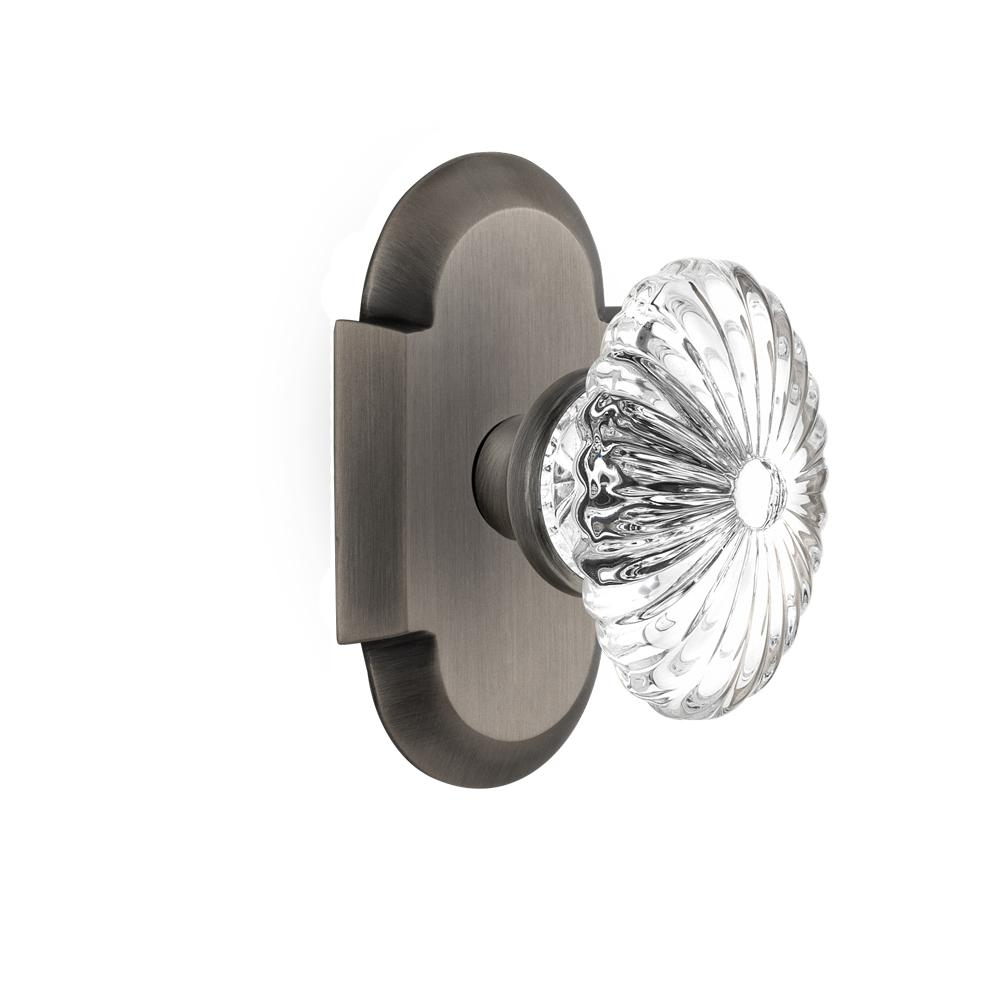 Nostalgic Warehouse Cottage Plate Single Dummy Oval Fluted Crystal Glass Door  Knob In Antique Pewter